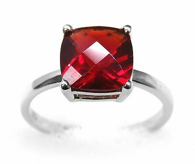 #R90808S 2.0ct Ruby Red Helenite 8mm Cushion Cut Solitare Sterling Silver Ring
