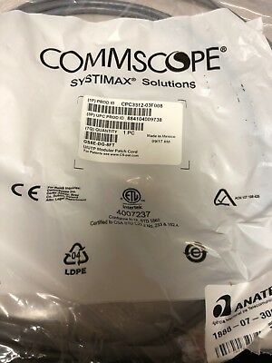 Lot of 100 New, PATCH CORD, CAT 6, COMMSCOPE, 8 FT, CPC3312-03F008