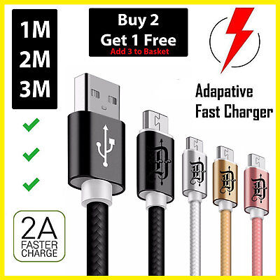 LONG MICRO USB FAST DATA CHARGER CABLE FOR SAMSUNG GALAXY S4 S5 S6 S7 Edge