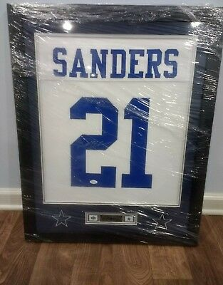 a6c836d87d2 Deion Sanders Framed And Autographed White Cowboys Jersey Auto JSA Certified
