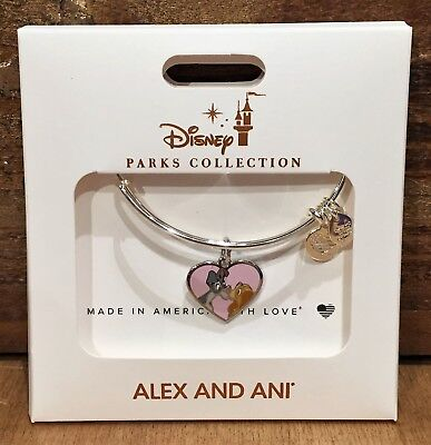 Disney Parks Alex and Ani Lady and Tramp Pink Heart Silver Bangle Bracelet NEW