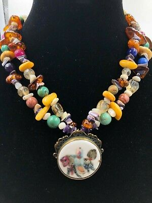 Antique Chinese Porcelain Shard Necklace Butterscotch Amber Turquoise Dragon Man