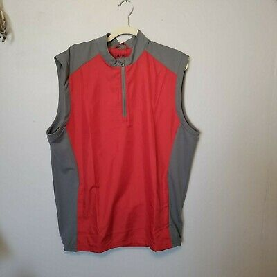 54c38cfeee663 ADIDAS MENS WIND Vest Size Large Red   Gray Zip Pockets NWT  65 ...