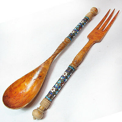 Rare Antique Russian 84 Silver Enamel Birch Wood Large Spoon And Fork Set