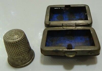 Antique Metal Thimble and Embroidery Thimble Box