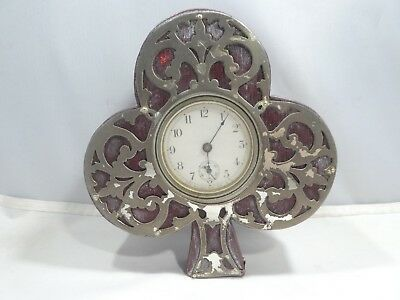 Rare Antique Mauser & Co. Sterling Silver Overlay 3 Leaf Clover Waterbury Clock