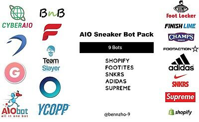 Sneaker Bot Pack - Supreme, Cyberaio, Ghost SNKRS, Dashe, Nike, ANB AIO, Adidas