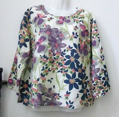 Hot Cotton Top T Shirt Size L Long Sleeve Linen Floral Pullover Crew Neck Casual