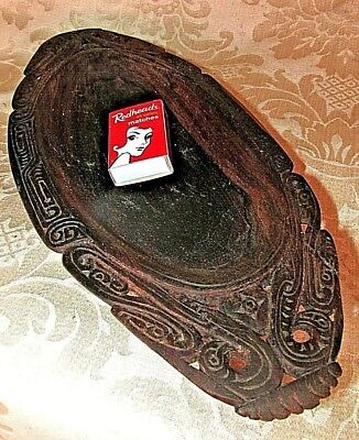 Vintage Pacific Polynesian WOOD BOWL DISH Ceremonial Hand Carved Tribal 33CmW