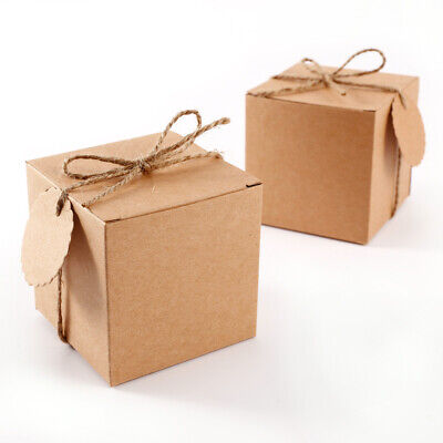 A Pack of 50 Eco Kraft Card Selflocking Wedding Favour Boxes or Cupcake Box 7 cm
