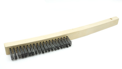 Wire Scratch Brush with Curved Handle - Carbon Steel - 12 Pack