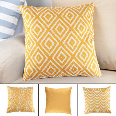 Decorative Throw Pillow Case Mustard Yellow Geometric Autumn Cushion Cover UK