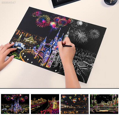 1A46 Interesting Nightscape Scratch Painting Draw Gift Intellectual Development