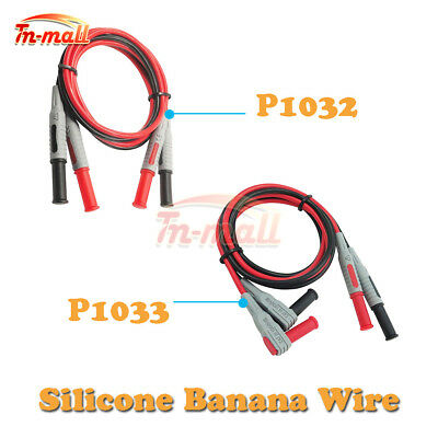 P1032 P1033 4mm Silicone Banana to Banana Plug Test Cable Lead For Multimeter