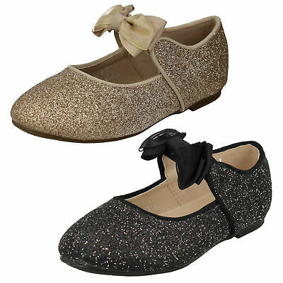 H2R537 Girls Spot On Slip On Sparkly Party Flat Bow Dolly Ballet Pumps Shoes