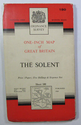 Old Vintage 1963 OS Ordnance Survey Seventh Series One-Inch Map 180 The Solent