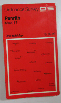 1964 old vintage OS Ordnance Survey seventh series one-inch Map 83 Penrith