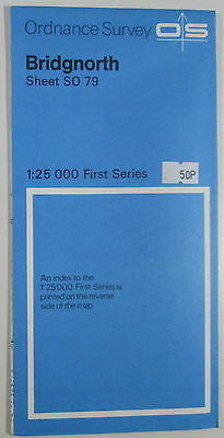 Old Vintage 1965 OS Ordnance Survey 1:25000 First Series Map SO 79 Bridgnorth