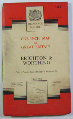 Old 1960 OS Ordnance Survey One-inch Seventh Series Map 182 Brighton Worthing
