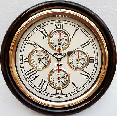 Vintage Style Brass Wooden Wall Clock~World Time Clock Wall Decor Nautical Gift