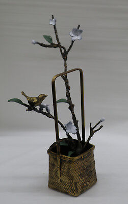 Art Deco/Nouveau Hot Cast Vase Dove with Jasmine Flower Bronze Sculpture Figure