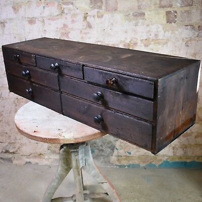 Antique Bank of Drawers Apothecary Engineers Cabinet Collectors Cabinet Drawer