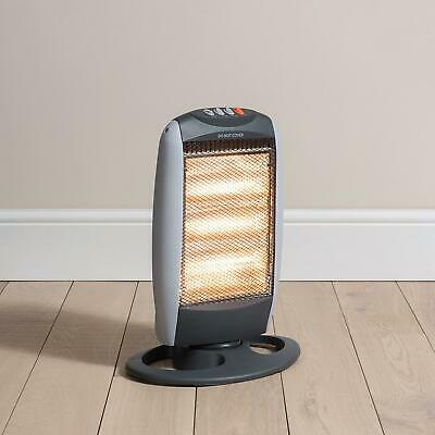 Large Electric 1200W Portable Halogen Heater 3 Bar Oscillating Base Home Office