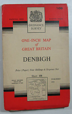 1959 old vintage OS Ordnance Survey Seventh Series one-inch map 108 Denbigh