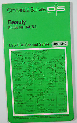 1979 old vintage OS Ordnance Survey Second Series 1:25000 Map Beauly NH 44/54