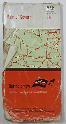 1962 old vintage Bartholomew's 'Half-inch' map sheet 18 Vale of Severn on cloth