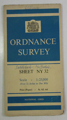 1958 old OS Ordnance Survey 1:25000 First Series Prov Map NY 32 Threlkeld 35/32