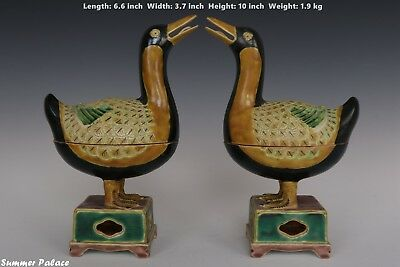 Fine Beautiful Chinese Pair Three Color Porcelain Duck Statue Box