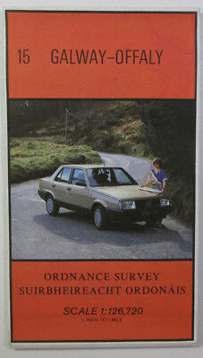 Old Vintage 1986 OS Ordnance Survey of Ireland Half-Inch Map 15 Galway - Offaly