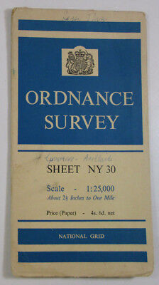 1959 Old OS Ordnance Survey 1:25000 First Series Provisional Map NY 30 Ambleside