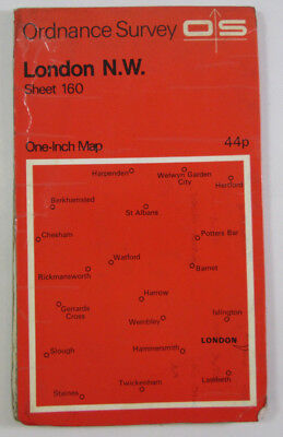 Old Vintage 1970 OS Ordnance Survey Seventh Series One-Inch Map 160 London N W