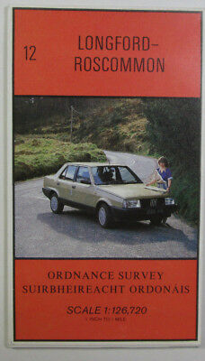 1987 old vintage OS Ordnance Survey Ireland half-inch map 12 Longford-Roscommon