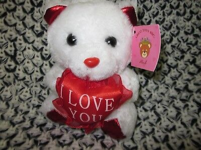 """White Plush small Teddy Bear heart """"I love you""""  great for Valentines day gift"""