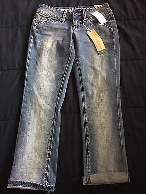 af792d9990d NEW Juniors Women s HYDRAULIC Blue Lola Curvy Capri Denim Jeans 0 NWT