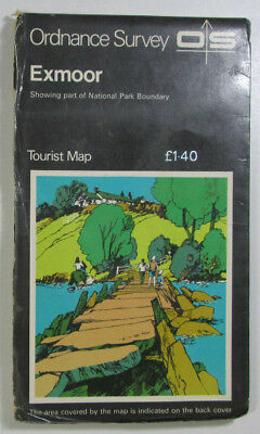 1979 Old Vintage OS Ordnance Survey One-Inch Tourist Map Exmoor National Park