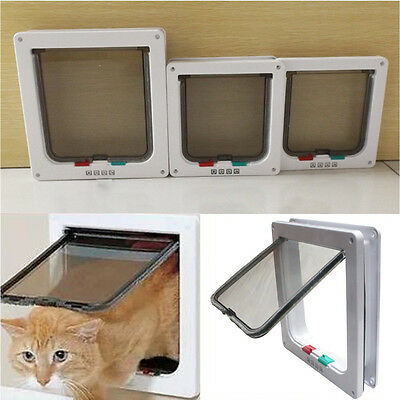 4 Way Large Medium Small Pet Cat Puppy Dog Door Flap Locking Lockable Safe Gate