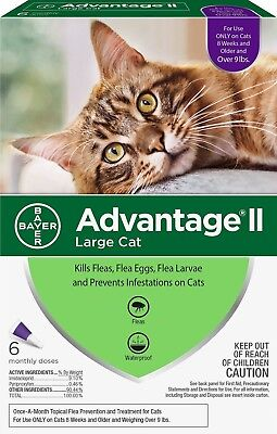 Advantage II Flea Treatment for LARGE Cats OVER 9 lbs - 6 monthly doses SEE NOTE