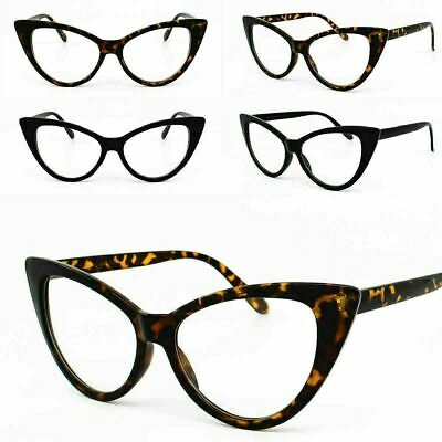 Cat Eye Clear Lens Glasses Rockabilly Oversize Ladies Pinup Glasses 80's Womens