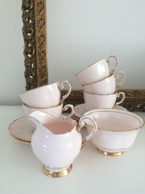 Vintage Plant Tuscan China Baby Pink And Gold Tea Set