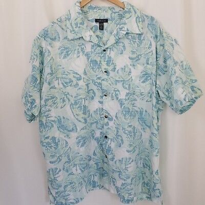 21a427a96bf Van Heusen Mens XXL 18-18.5 Short Sleeve Tropical Hawaiian Camp Aloha Shirt  Blue