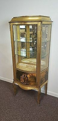 Vintage French Curved Glass Front Curio Cabinet Gold Leave Ormolu Decor