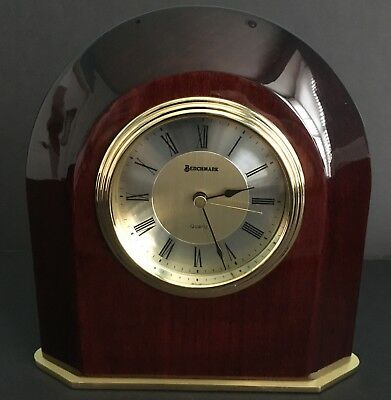 """Benchmark Desk Clock Heavy Lacquer Rosewood Piano Finish Brass Base 6""""x7"""""""