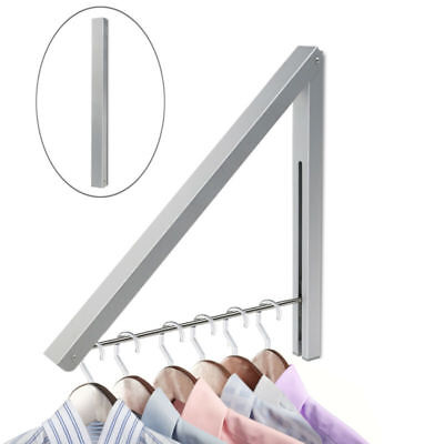 Fold Away Coat Hanger Wall Mounted Clothes Hanging Rail System Drying Rack