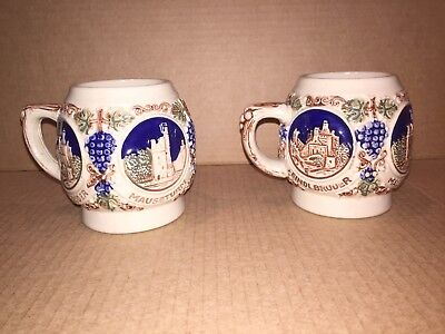 Vintage GERZ Coffee Mug Cups Stein Medallions Castles West Germany Quantity 2