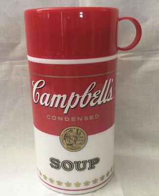 Campbell's Soup Thermos 1998 Vintage Red White Logo 6 inches tall