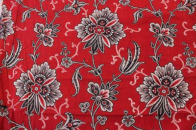 "Antique c1890 French Turkey Red Cotton Bandana Sample Fabric~L-10"" X W-12"""